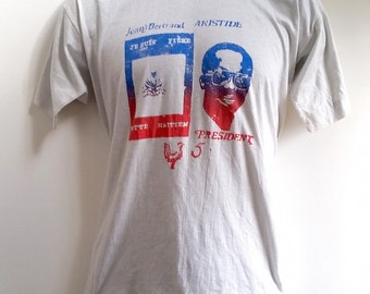 Aristide for President Haitian Campaign Tee T Shirt 1990