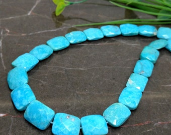 Natural Turquoise 12-15mm Faceted Chicklet Briolette Beads / Approx 35 pieces on 12 Inch long strand / JBC-ET-BSTQ013