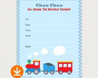Choo Choo Train Party - DIY Fill In Birthday Invitation - Printable Birthday party invite - Instant Download