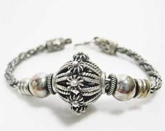 Vintage Bali Bracelet - Sterling Silver - Cage Bead Bracelet - Bali Jewelry - Ethnic Jewelry