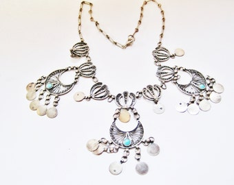 Vintage Egyptian Necklace, Silver and Turquoise Boho Choker with Coin Dangles
