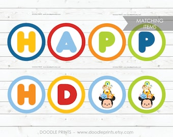 Happy Birthday Banner, Matching Party Decor, Flag Banner Mickey Mouse Birthday Party, Tsum Tsums Mickey Printable Instant Download DIY