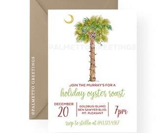 Coastal Christmas Watercolor Palm Tree with Christmas Lights Holiday Party Invitations, Gift exchange, Beach Christmas South Carolina