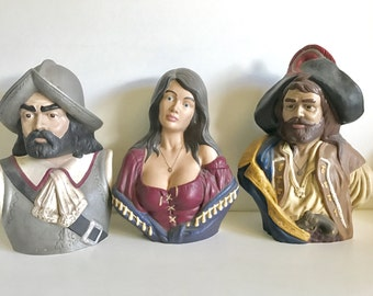 Vintage Ceramic Pirates and Wench Busts Beautiful Busty Pirate Wench Statue Pirate Captain Statue Yo Ho Ho Vintage Holland Pirate Molds