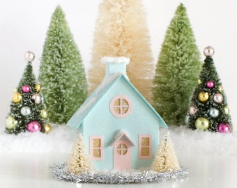Putz House Christmas Decoration Vintage Style Glitter House Christmas Ornament Bungalow Christmas Decor Handmade Wedding/Housewarming Gift