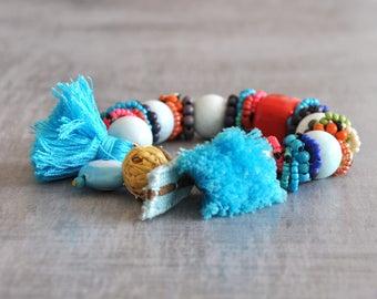 Bohemian Gypsy Beaded Bracelet,  Boho Semiprecious Stones Bracelet,  Ethnic Tassel Bracelet,  Hippie Evil Eye Bracelet,  Tribal Bracelet