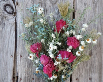 Dried Flower Bouquet Floral Arrangement Peony Peonies Ammobium Queen Anne's Lace Aqua Dyed Limonium Meadow Grasses Free Lavender Sachet