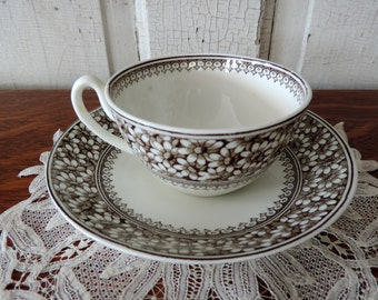 Antique Brown Transferware Tea Cup and Saucer Daisy WAA