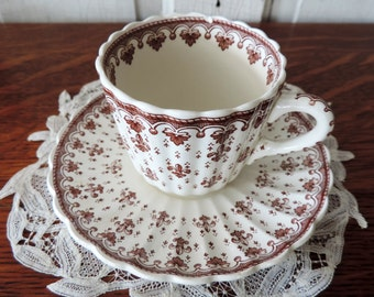 Antique Brown Transferware Tea Cup and Saucer Made in England by Copeland FLEUR-DE-LIS Spode Teacup