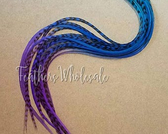 """Xl Hair Feathers 10 Turquoise Blue Purple Feather Extensions Extra Long Feathers 11-13"""""""