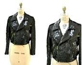 Sale 15% off Vintage Sequin Jacket Black Moto Jacket Size Small Medium// Vintage Metallic Sequin Jacket with Black By Modi J13