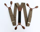 Brown Button On Braces // Dark Brown Leather // Vintage Style Suspenders // mens suspenders// Espresso Linen// Fancy Suspenders