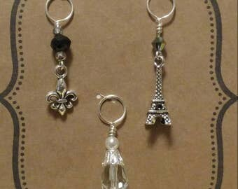 Paris trip themed knitting stitch markers.