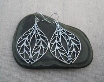 Silver Bohemian Statement Earrings - Silver Boho Earrings - Silver Leaf Earrings