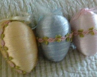 """3 shiny wrapped easter egg ornaments  handmade DECORATIONS shabby chic vintage 4"""""""