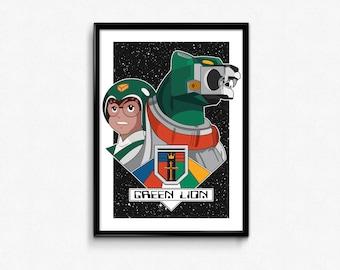 Green Lion and Pilot Pidge Portrait // Digital Illustration and Fine Art Print // Colorful, Dynamic Voltron Inspired Pop Art Design