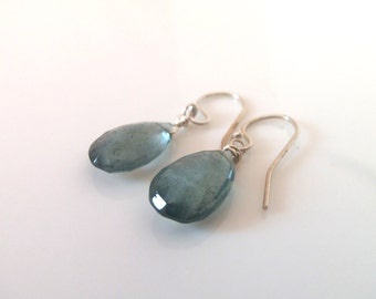 Aquamarine Steely Blue Gemstone Natural Handmade Dangle Earrings with Sterling Silver Wire Wrapped Earrings