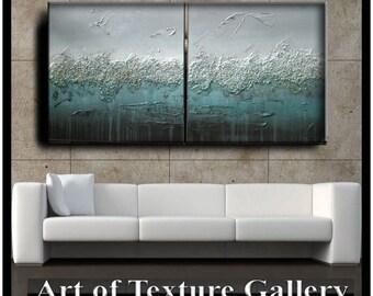 60 x 30 Custom Original Abstract Impasto Texture Silver Gray Aqua Teal Brown Metallic Oil Painting by Je Hlobik