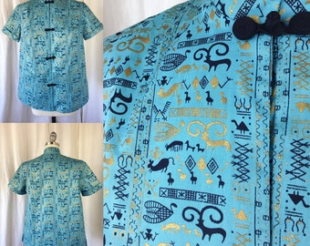 1950s Novelty Print Blouse/ Frances Thompson San Francisco/ Size M/ Asian Influence Sportswear Turquoise Cotton Black Gold Cave Heiroglyphic