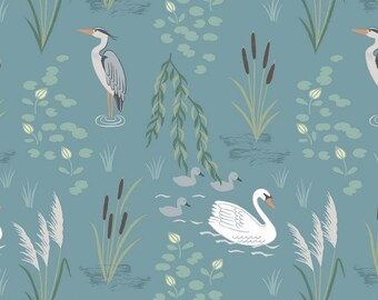 Swan and Heron on Teal - A220.2 - Down By the River - Lewis and Irene Fabric - By the Yard