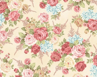 Large Floral Toss in Cream - PEACEFUL GARDEN - Mary Jane Carey for Henry Glass Fabric  - By the Yard