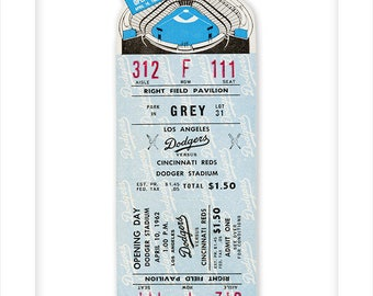 First game at Dodger Stadium ticket stub print - Los Angeles Dodgers 1962 home opener - 8x10, 11x14 or 16x20 print - Dodgers fan gift -