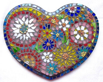 Heart, Love, Wedding, Gift, Wall hanging, Flowers, Home Decor, Original Art, Handmade, Mosaic