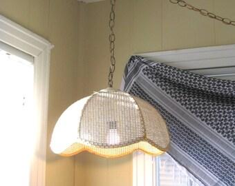 Vintage Hanging Boho Swag Lamp // Boho Decor // Pendant Light // Wicker Swag Light