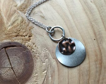 Copper and Silver Necklace-  Modern, Versatile Necklace