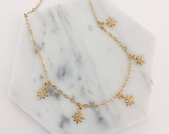 Starburst Choker - layering necklace, gold chain choker, star necklace, delicate necklace