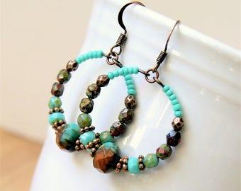 beaded hoop earrings, czech glass earrings, boho, bohemian, aqua copper, gypsy