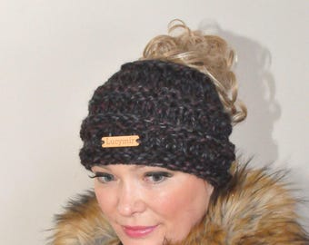Messy Bun Beanie Ponytail Hat Messy Bun Beanie Hat CHOOSE COLOR Beanie Ponytail Beanie Hat Beanie with hole Mom Life Hat Gift under 50