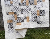 Quilted Throw, Country Lap Quilt, Log Ladder or Wall Hanging, Yellow Daisy Print with Black, Grey and Cream Cotton Fabrics