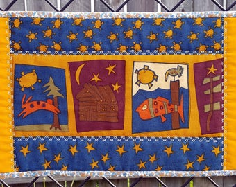 Quilted Toilet Topper, Mini Table Runner, or Candle Mat, Primitive or County Home Decor, Perfect for narrow space