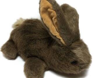 Vintage 1985 Dakin Soft Brown Rabbit Bunny Plush Hand Puppet