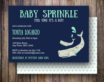 Floral Whale Baby Sprinkle Invitation, Fabric Whale Baby Sprinkle Invite, Printable Whale Baby Shower Invite - Whimsy Whale in Teal & Navy