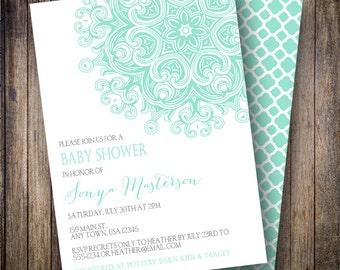 Medallion Baby Shower Invitation, Medallion Baby Shower Invite, Printable Medallion Baby Shower Invitation in Gray and Light Teal