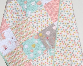 Baby Girl Quilt The Littlest Reversible Bunnies Coral Mint Green Toddler Pastels Baby Blanket Baby Crib Bedding Shabby Chic Ready to Ship
