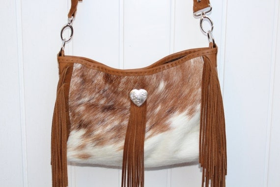 Cowhide and Leather Fringe purse