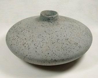 Vintage Art Studio Mid Century Modern Low Wide Speckled Unglazed Exterior Stoneware Pottery Vase