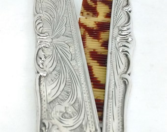 Antique Art Nouveau Engraved Reposse Sterling Silver Tortoise Shell Hair Comb With Cover