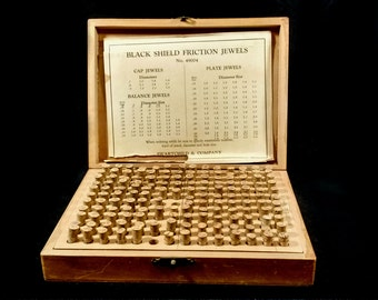 Antique Swartchild & Company Watchmakers Friction Jewels 149 Glass Vials Wooden Carrying Case