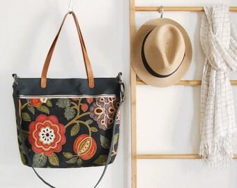 LARGE, dark navy blossom front zipper pocket tote / diaper bag / shoulder bag. 9 inside pockets. Waterproof lining available
