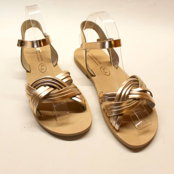 Leather sandals, size 38 US 7-7.5  Leather Sandals women, Greek sandals,  Metallic women sandals  , sandales femme