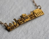 Skyline City Necklace ... Vintage Brass Pendant Rome Roma