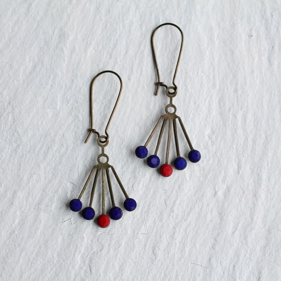 Navy Deco Earrings... Blue Glass Gems in Vintage Fan Settings