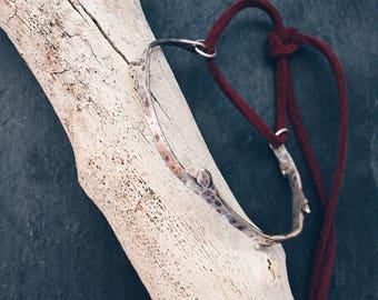 Silver Twig Bracelet, Modern Silver Cuff