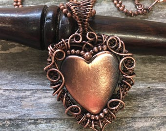 Copper heart necklace, wire wrap necklace, Wire wrap Jewelry, Unique Jewelry, Unique Gift