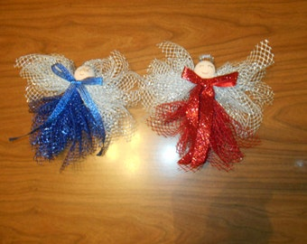 2 deco mesh ribbon Angels Christmas ornaments.