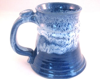 Large Stein - Tankard - Coffee Mug - Handmade Pottery - 22 oz - Beer Mug - Pottersong - Denim Jeans Blue - Frosted Blue